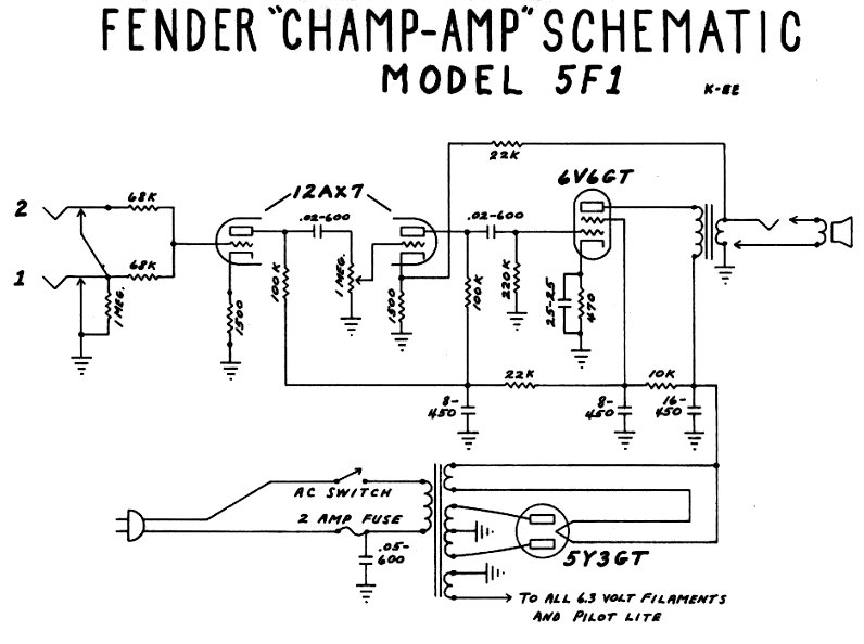 Fender tweed champ schematic schematic wiring diagram notes on the tweed champ rh acruhl freeshell org fender tweed champ kit fender tweed champ kit cheapraybanclubmaster Choice Image