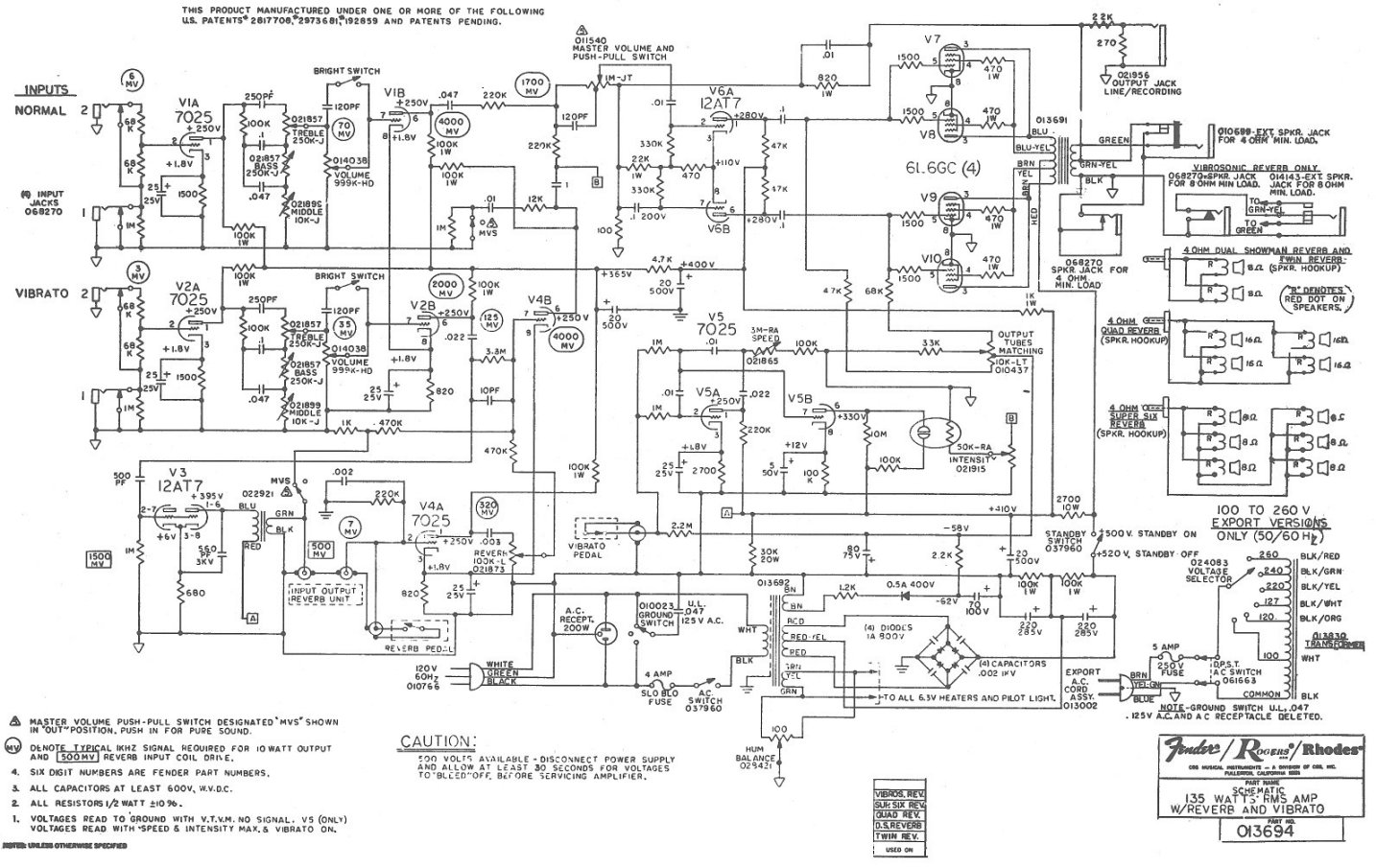 Fender Super Twin Reverb Schematic - Wiring Diagram Data